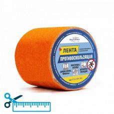 Лента противоскользящая (контрастная маркировка пола, безопасное движение по лестницам) оранжевая шириной 100 мм (нарезка в размер)