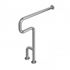 Поручень опорный для санузла, настенно-напольный, тип 1, правый, нержавеющая сталь, D38 мм