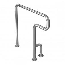 Поручень опорный для санузла, напольный, тип 3, левый, нержавеющая сталь, D38 мм
