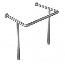 Поручень опорный для раковины, креплением к стене и к полу, тип 1, нержавеющая сталь, D38 мм