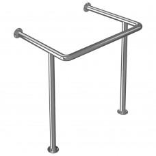 Поручень опорный для раковины, креплением к стене и к полу, тип 2, нержавеющая сталь, D38 мм