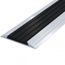 Лента тактильная направляющая ПВХ (черная) в AL профиле 4,5х46 мм