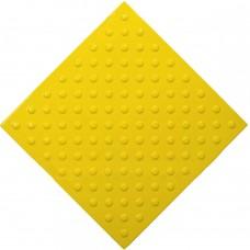 Плитка тактильная (непреодолимое препятствие, конусы шахматные) ПВХ (желтая) 500х500х4 мм