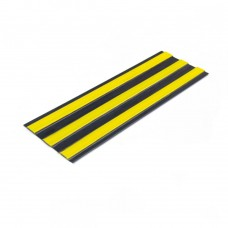 Лента тактильная направляющая ПВХ (3 желтые полосы на черной основе) самоклеящаяся 4х180 мм
